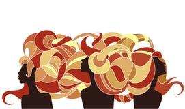 Trzy antykwarskiej sylwetki dziewczyny Fotografia Stock