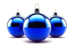 Trzy Błękitny Bożenarodzeniowego Baubles Obraz Stock
