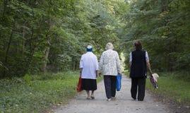 Trzy babci, kobieta wieka spacer park fotografia royalty free