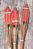 Trzy bambusów pożarnicza pochodnia zdjęcie stock