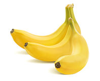 Trzy banana w wiązce na bielu Zdjęcie Stock