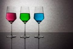 Trzy Barwionego szkła woda RGB Zdjęcie Royalty Free