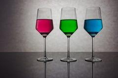 Trzy Barwionego szkła woda RGB Obrazy Royalty Free