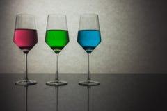 Trzy Barwionego szkła woda RGB Obraz Royalty Free