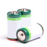 Trzy baterii na bielu Obrazy Royalty Free