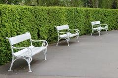 Trzy biała ławka Zdjęcia Stock