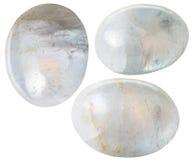 Trzy Białego agata gemstones odizolowywającego Zdjęcia Royalty Free