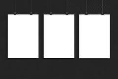 Trzy białego papieru plakata egzamin próbny up, ściana egzamin próbny up Fotografia Stock