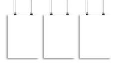 Trzy białego papieru plakata egzamin próbny up, ściana egzamin próbny up Zdjęcia Stock