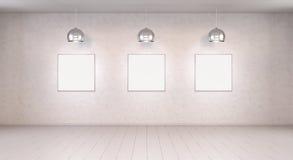 Trzy białego pustego miejsca brezentowego na ściany 3D renderingu Fotografia Stock