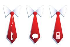 Trzy biznesmena krawata z komunikacyjnymi symbolami. Zdjęcia Royalty Free