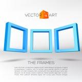 Trzy błękitnej prostokątnej 3D ramy Obraz Royalty Free