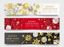 Trzy Bożenarodzeniowego horyzontalnego sztandaru z olśniewającymi płatkami śniegu, faborkami, gwiazdami i kolorowymi piłkami, boż ilustracja wektor