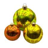 Trzy Bożenarodzeniowej piłki z złotą płatek śniegu dekoracją na białym tle, royalty ilustracja