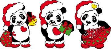 Trzy bożych narodzeń pandy niedźwiedź! Obraz Royalty Free