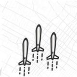 Trzy bomb latać ilustracji