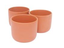 Trzy brown filiżanki dla herbaty Zdjęcia Royalty Free