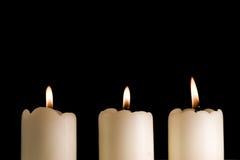 trzy burning2 świece. Zdjęcia Royalty Free