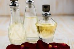 Trzy butelek pachnidło Zdjęcia Royalty Free