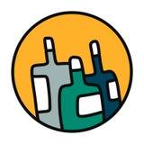 Trzy butelek ręka rysująca ilustracja w logotypie ilustracja wektor