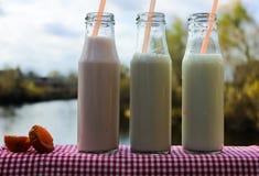Trzy butelki mleko na stole zdjęcia stock