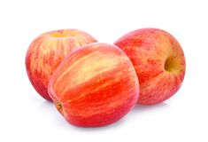 Trzy cały świeży czerwony galowy jabłko isloated na bielu Zdjęcie Royalty Free