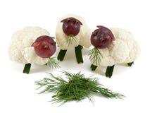 Trzy cakli chew trawa, rzemiosła dla dzieciaków Obraz Stock