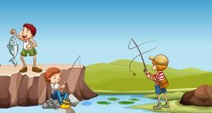 Trzy chłopiec łowi przy rzeką royalty ilustracja