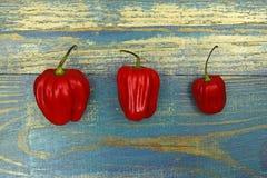 Trzy chili pieprzu na starym drewnianym tle Obraz Royalty Free