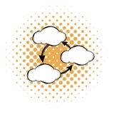Trzy chmury komunikuje z each inną ikoną ilustracja wektor
