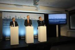 Trzy chwyt konferenci prasowej i Zdjęcie Stock