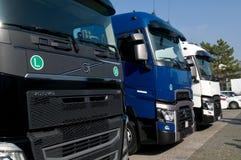 Trzy ciężarówka przy wystawą Zdjęcia Stock