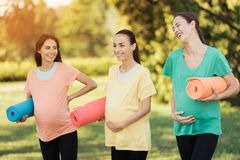 Trzy ciężarnej dziewczyny pozuje w parku z joga matują w ręce I uśmiechają się zabawę Zdjęcia Stock