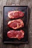 Trzy cięcia Surowi świeżego mięsa stki Obrazy Royalty Free