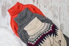 Trzy ciepłego puloweru dla szyi na drewnianym tle piękna błękitny jaskrawy pojęcia twarzy mody makeup kobieta Fotografia Royalty Free
