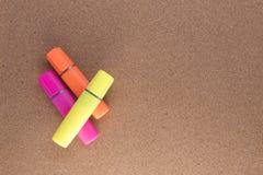Trzy coloured highlighters Zdjęcie Stock
