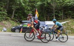 Trzy cyklisty tour de france 2017 obrazy stock