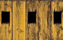 Trzy okno na drewnianym drzwi Fotografia Royalty Free