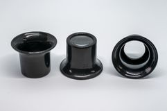 Trzy czarnego powiększają oko kawałka fotografia stock