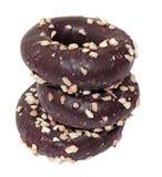 Trzy czekoladowego donuts Zdjęcia Stock