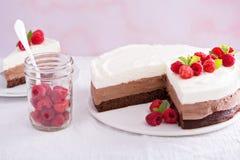 Trzy czekoladowego mousse tort Fotografia Stock