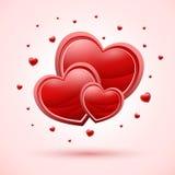 trzy czerwone serce Zdjęcie Stock