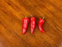 Trzy Czerwonego Jalapenos Zdjęcie Royalty Free
