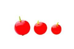 Trzy czerwonej dojrzałej porzeczkowej jagody odizolowywającej nad białym tłem Zdjęcie Stock