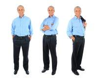 Trzy długość biznesmena portretów folujący kolaż zdjęcie royalty free