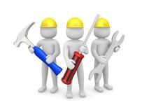 Trzy 3d mężczyzna - ludzie z narzędziami w rękach. 3d wizerunek ilustracji