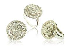 Trzy diamentowego pierścionku Zdjęcia Royalty Free