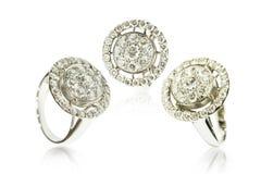 Trzy diamentowego pierścionku Fotografia Stock
