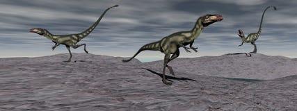 Trzy dilong dinosaur - 3d odpłacają się Fotografia Royalty Free