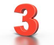 Trzy dimentional czerwieni liczby kolekcja - trzy zdjęcie stock